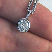 0.57ct Diamond Pendant Necklace  JEWELFORME BLUE 18KT White Gold GIA certified