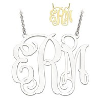 Sterling Silver Personalized 42mm .027 Gauge Monogram Pendant Necklace