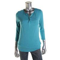 QMack Womens Jersey 3/4 Sleeves Henley Top