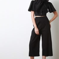 High Waist Cropped Flare Pants