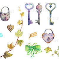 Wedding Clipart - Watercolor vintage key and lock with love hearts, ivy leaves printable instant download invitation (set6)