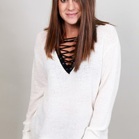 Can't Get Enough Lace-up Sweater {White}