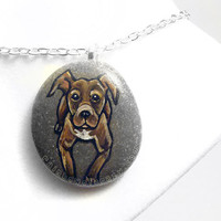 Pit Bull Jewelry, Dog Portrait, Hand Painted Rock, Beach Stone, Pet Loss, Pet Memorial Art, Dog Owner Gift, Brown Bull Dog Terrier