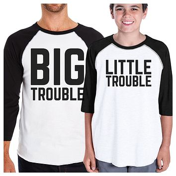 Big Trouble Little Trouble Dad and Baby Baseball Tee New Dad Gifts