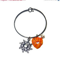 20% OFF Golden Yellow Orange Sunshine Seashell Bangle with Freshwater Pearl and Silver Sun Charm
