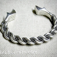 Namejs bracelet with stylized dragon terminals, 4x3mm (9ga.) wire, sterling