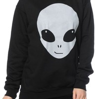 A-Lab Glow In The Dark Alien Face Crew Neck Sweatshirt
