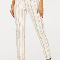 Stone Stripe Cigarette Trouser