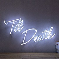 Til Death Real Glass Neon Sign For Bedroom Garage Bar Man Cave Room Home Decor Handmade Artwork Visual Art Dimmable Wall Lighting Includes Dimmer