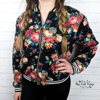 Quilted Floral Bomber Jacket - Black - Small or Medium only