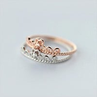 S925 Pure Silver Fashion Sweet Princess Royal Crown Zircon Ring, Fresh and Lovely Twist Ring J1548