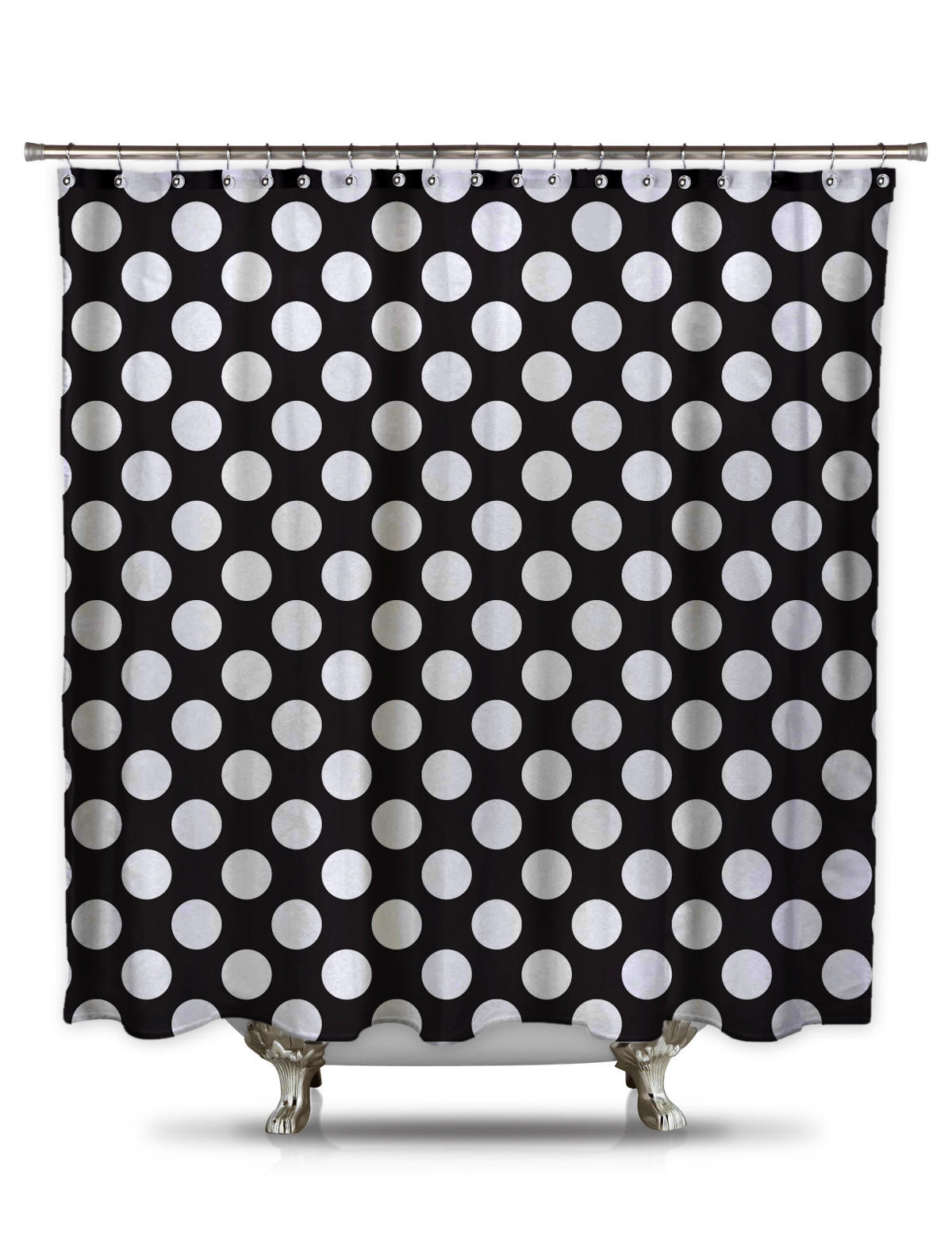 Black and White Polka-Dot Fabric Shower from Shower Curtain HQ