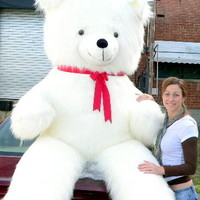 8 Feet Tall Biggest Valentine Teddy Bear in the World White Furry Valentines Day or Any Day Mother Lode of Teddy Bear Love