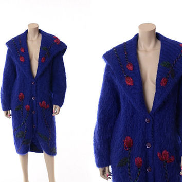 Vintage 80s Avant Garde Mohair Cocoon Coat 1980s Oversize Shawl Collar New Wave Embroidered Floral Boho Wool Jacket / Large / X-Large