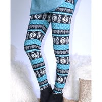 Blizzard Bound Teal Fair Isle Snowflake Leggings