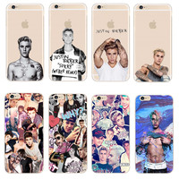 """Fashion JUSTIN BIEBER Design Phone Cases For iPhone SE 5 5S 6 6S 7 Plus Transparent Plastic Back Cover Coque For iPhone 7 4.7"""""""