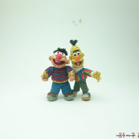 Tiny crochet  muppet doll inspired Ernie and Bert - tiny amigurumi miniature muppets