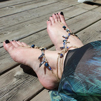 Blue, purple mother-of-pearl sea shells, glass Caribbean sea barefoot sandal, foot jewelry, beach wedding, boho anklet eco-friendly