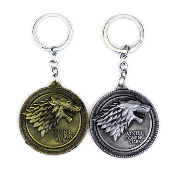 Game of thrones Keychain House Stark Key Chain Song Of Ice And Fire Key Rings Holder Souvenir For Gift Chaveiro Men Jewelry Gift
