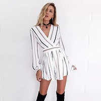 Double Striped Long Sleeve Romper