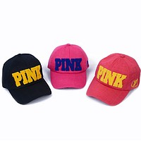 VICTORIA'S SECRET PINK  Leisure sports baseball cap embroidery Hat Visor duckbill peaked cap