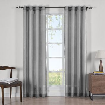 GRAY Abri Grommet Crushed Sheer Curtain Panels (Two Panels )