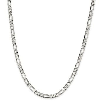 Sterling Silver 5.5mm Polished Flat Figaro Chain Necklace