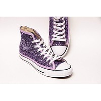 Lavender Sequin High Top Sneakers