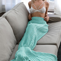 Knitted Sofa Bedding Mermaid Blanket with Tail Home Children Adult Winter Spring +Christmas Gift Necklace