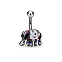 Elephant with Enamel Colored and Antique Plated 316L Surgical Steel WildKlass Belly Button Rings