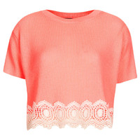 Knitted Lace Hem Crop Jumper - Knitwear - Clothing - Topshop USA