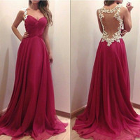 Burgundy Sweetheart Prom Dress,Floor Length Evening Dress With Applique,Blackless Dress