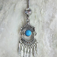 Blue Bead Belly Button Ring  /Feather Belly Button Ring / Gypsy Feather Belly Button Jewelry