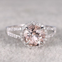 8mm Morganite Engagement ring White gold,Diamond wedding band,14k,Round Cut,Gemstone Promise Bridal Ring,Claw Prongs,Pave Set,Handmade