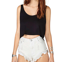 Black Sleeveless Back Layered Crop Top