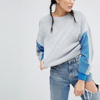 ASOS Jumper With Colour Block Sleeve at asos.com