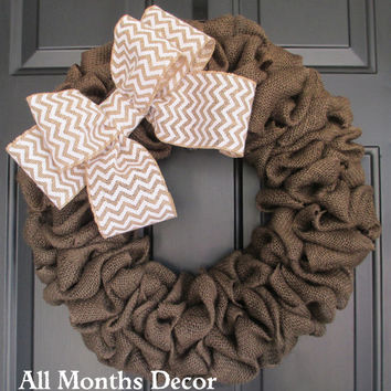 Brown Burlap Wreath with Chevron Burlap Bow, Country, Spring Easter Fall Winter, Year Round, Fall, Porch Door Decor