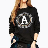 Casual A-Letter Print Loose Sweater B0014304