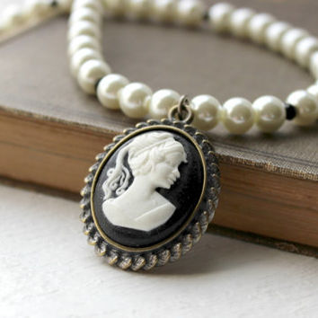 Romantic Black and White Lady Cameo Pendant - Faux Pearl Beaded Necklace - Handmade Jewelry - Downton Abbey - Neo Victorian - Ready to Ship