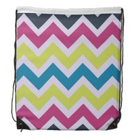 Multicolor Chevron Drawstring Backpack
