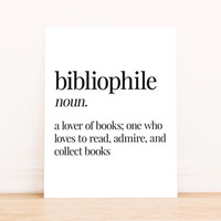 Printable Art Bibliophile Definition Typography Poster Home Decor Bedroom Decor