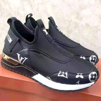 LV tide brand female models wild sports running shoes Black