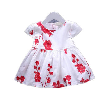 New 2017,Summer Baby Girl Dress,Flower Embroidery Clothing,Newborn,Toddlers,Baby Girl Clothes,for 3-18M Baby