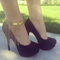 Strong Character High Heel Tassels Chain Fashion Stylish Alloy Diamonds Anklet = 5892959553