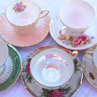 15 Mix and match Vintage China Tea Cup & Saucer Gift Sets for Wedding / Bridal / Shower / Hostess Gifts