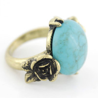 New Gold-tone Floral Natural Turquoise Stone Ring,Sz.7