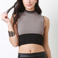 Colorblock Mock Neck Crop Top
