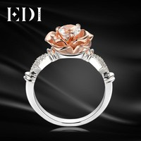 EDI 5mm Natural White Topaz Gemstone Ring 925 Sterling Silver Engagement Ring For Women Rose Flower Bands Fine Jewelry