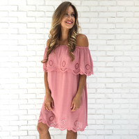 Lotus Scallop Off Shoulder Dress In Pink