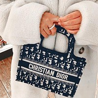 Dior Popular Women Handbag Tote Shoulder Bag Purse Wallet Set Three Piece Blue
